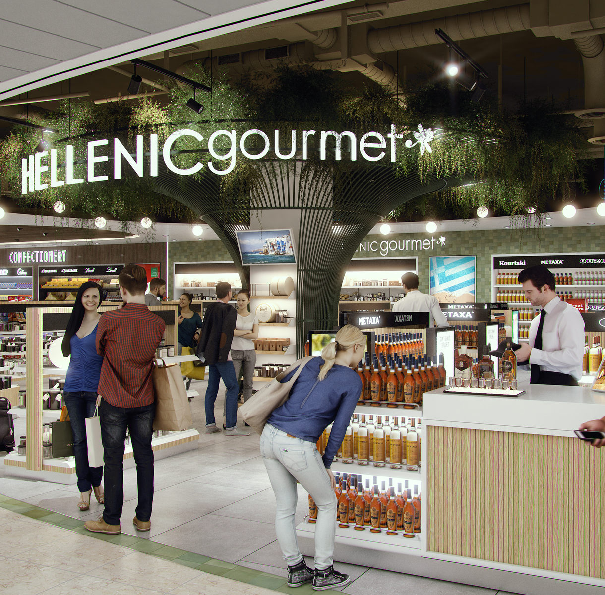 Tree gourmet design in travel store. Mostazadesign